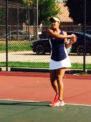 Oni Jones '17 returns a ball during a match last week.