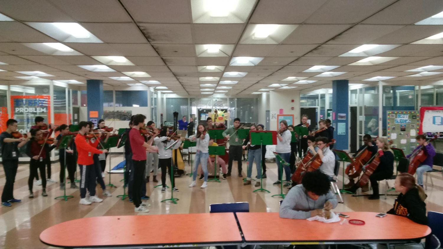 WYMHS Chamber Orchestra performs for Blue House during 6th period as part of performing arts week