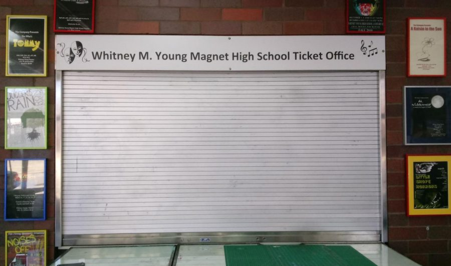 Whitney Young ticket booth with metal screen closed