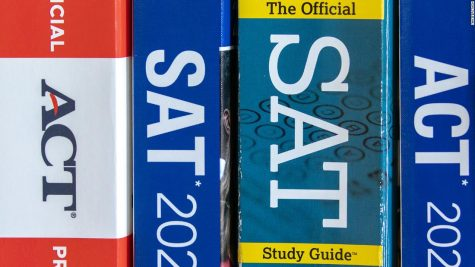 A picture of standardized test prep-books
